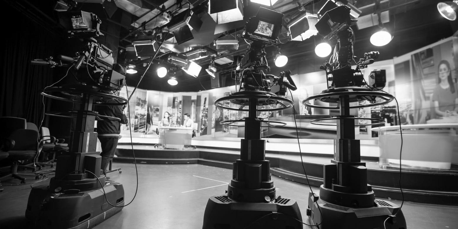 Television studio filming a segment